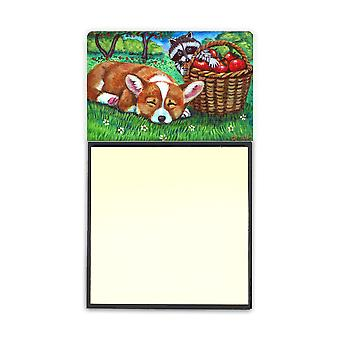 Carolines Treasures  7430SN Corgi with the Racoon Apple Thief Sticky Note Holder