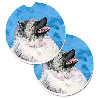 Blue Keeshond Set of 2 Cup Holder Car Coasters