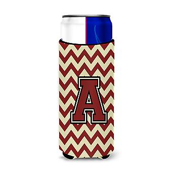 Letter A Chevron Maroon and Gold Ultra Beverage Insulators for slim cans
