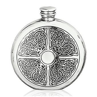 Round Celtic Knot 6oz Hip Flask (CEL176 EP)