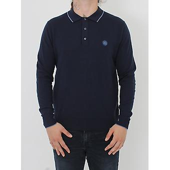 Pretty Green Tilson L/Sleeve Knitted Polo - Navy