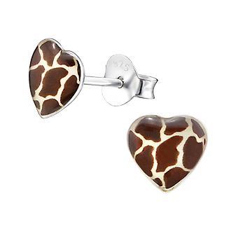 Giraff skriva ut hjärta - 925 Sterling Silver färgglada öra dubbar - W31706x