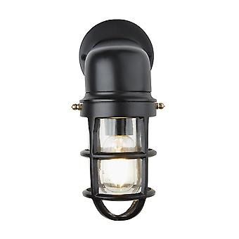 Vintage Industrial Cage Bulkhead Wall Light Sconce with Glass - Black