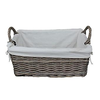 Large Shallow Lined Antique Wash Storage Wicker Basket