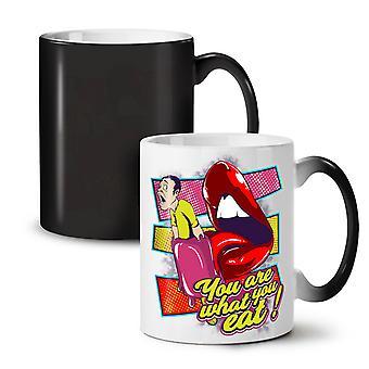 You Are What You Eat NEW Black Colour Changing Tea Coffee Ceramic Mug 11 oz   Wellcoda