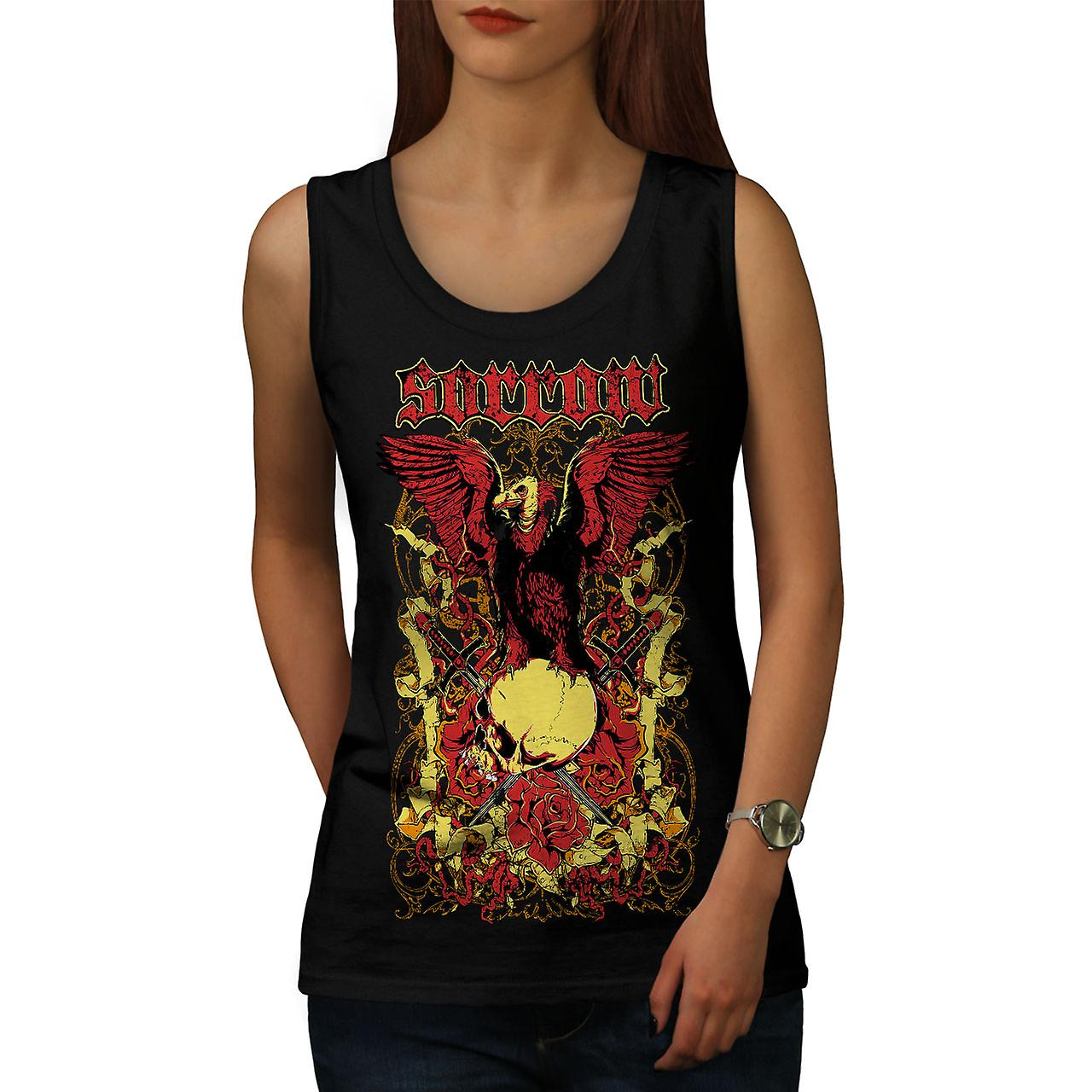 Sorrow Eagle Rose Skull Women BlackTank Top | Wellcoda