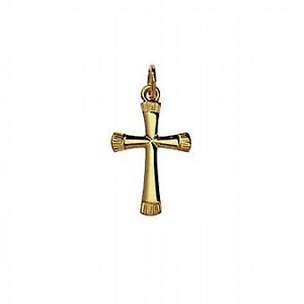 9ct hvitt gull 19x13mm vanlig fancy blekkutskriften Cross