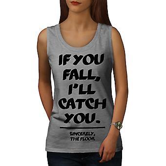 Fall Catch Floor Funny Women GreyTank Top | Wellcoda