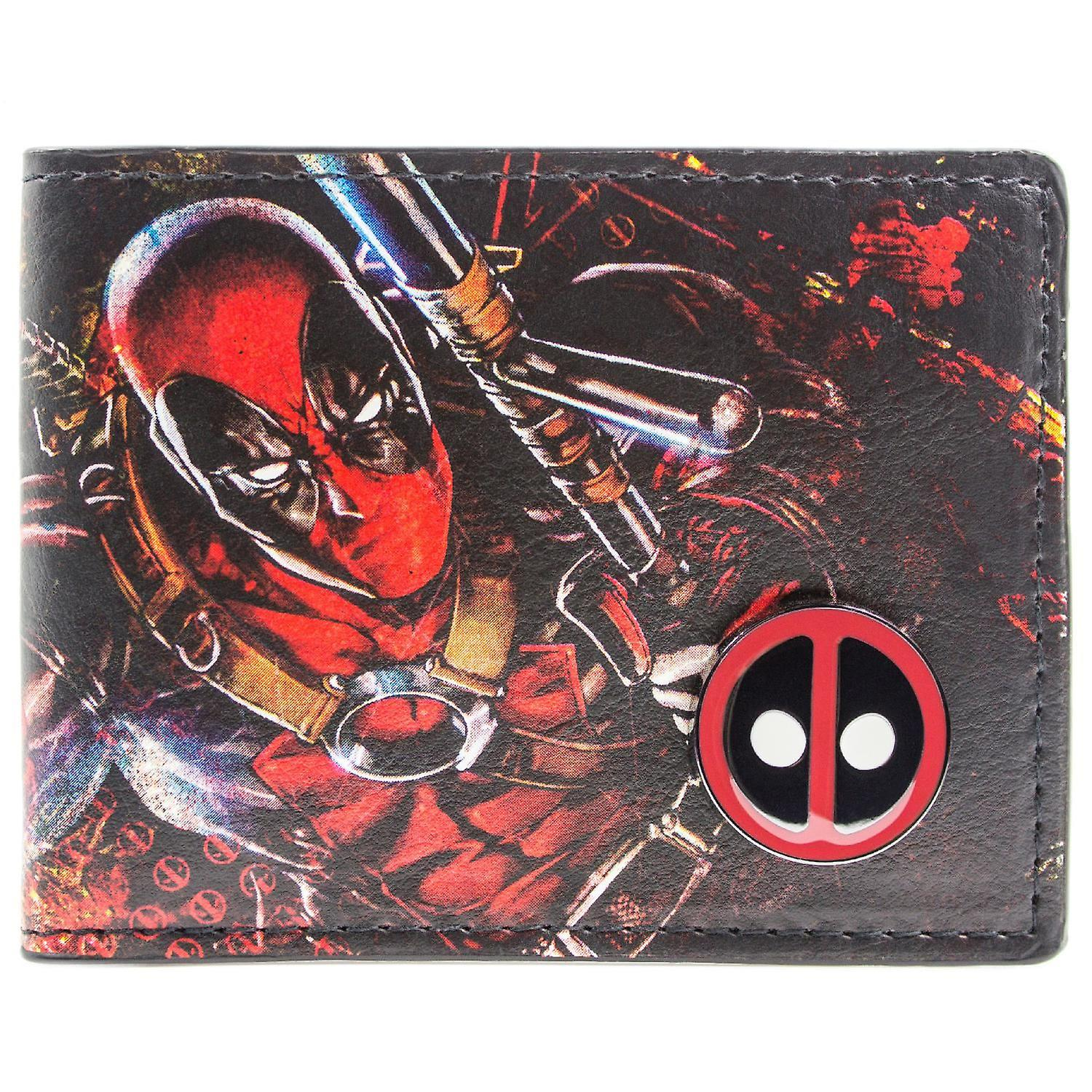 Marvel Deadpool Printed Character with Badge ID & Card Bi-Fold Wallet