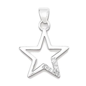 925 Sterling Silver White Synthetic Cubic Zirconia Cut-Out Star Charm Pendant