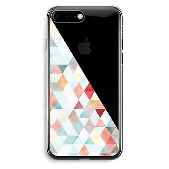 iPhone 7 Plus transparant Case (Soft) - gekleurde driehoeken pastel