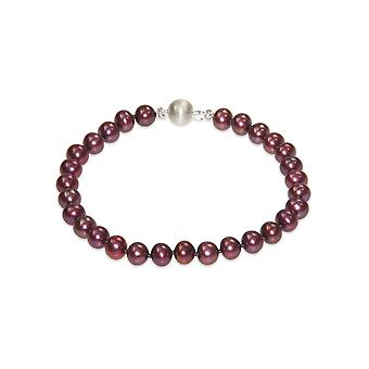 Bracelet woman cultured pearls of water soft red Cranberry and Silver 925 clasp