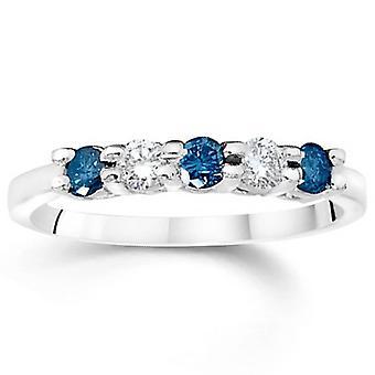 7 / 8ct käsitelty sininen & valkoinen timantti 5 kivi 14K White Gold Anniversary