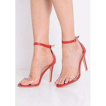 Plexiglas rem Heeled kile sandaler rød