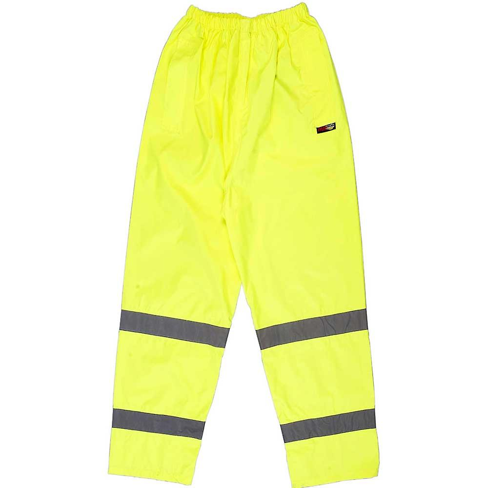High Visibility Viz Yellow Mens Breathable & Waterproof Work Overtrousers Pants
