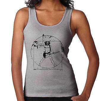 Vitruvian Man Guitar Player Black Lines Women's Vest