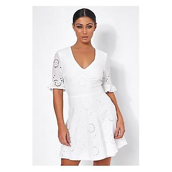 The Fashion Bible Luciana White Broderie Anglaise Shift Dress