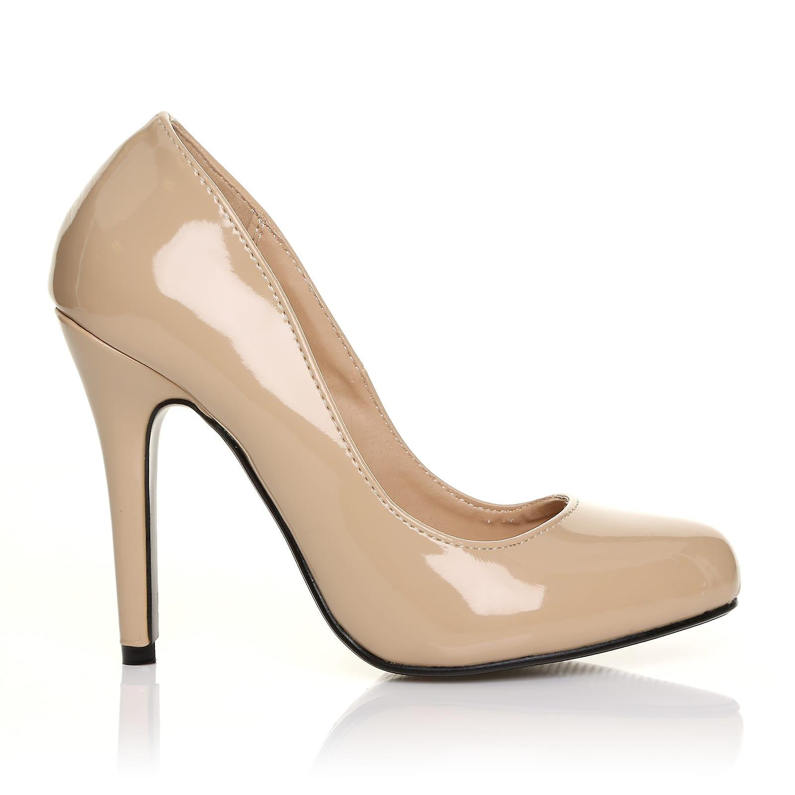 HILLARY Nude Patent Classic PU Leather Stilleto High Heel Classic Patent Court Shoes 95aae5