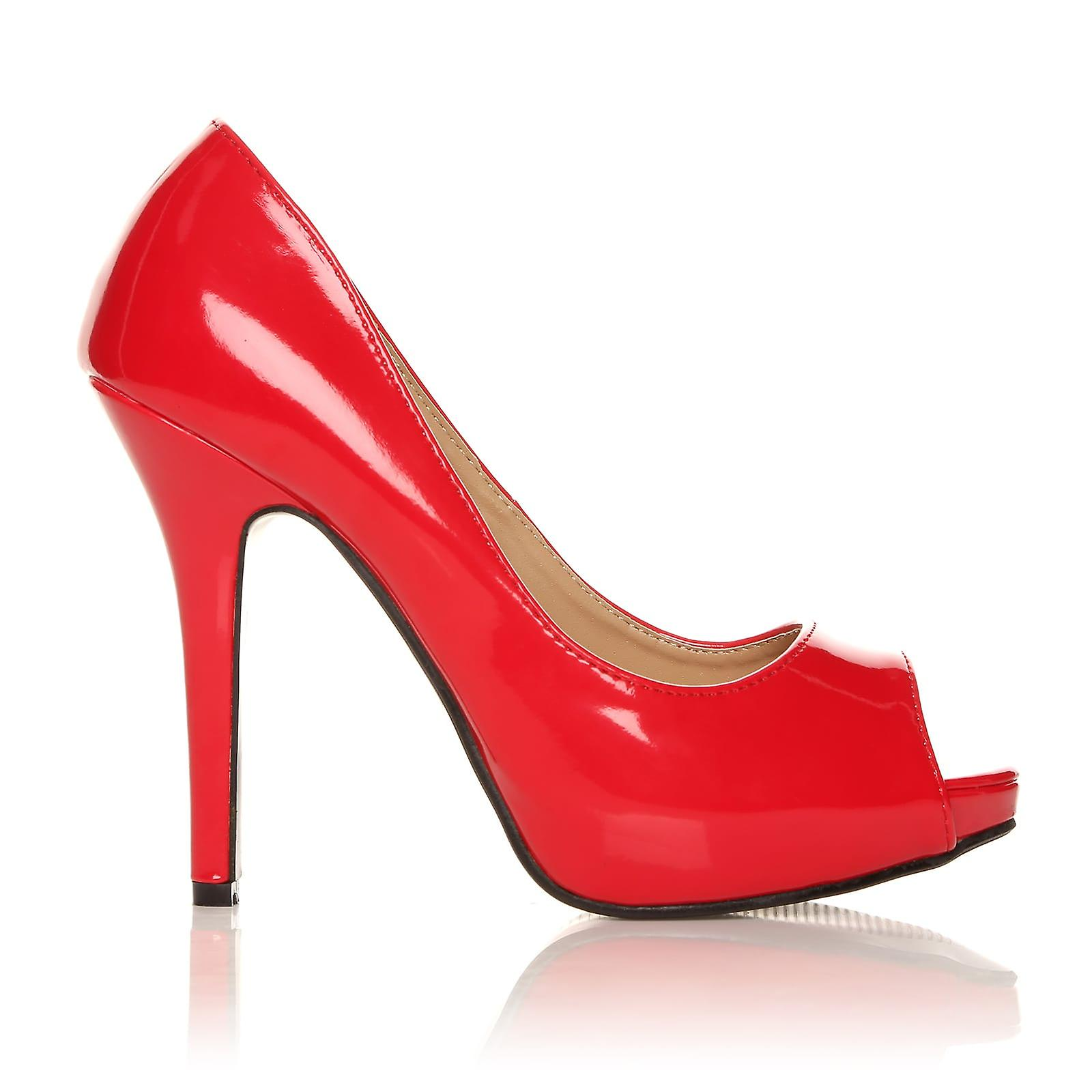 TIA Red Patent PU Leder Stiletto High Heel-Plattform Peep Toe Schuhe