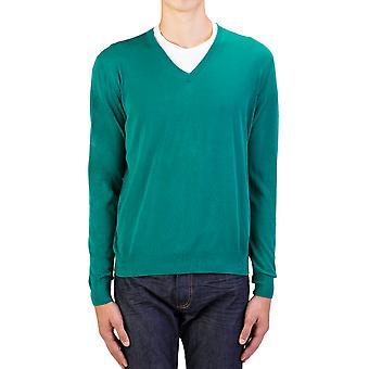 Prada Men's Cotton V-Neck Sweater Green