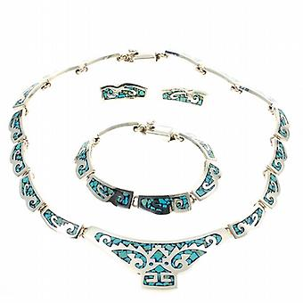 Turquoise Inca Mexican Silver Necklace Set