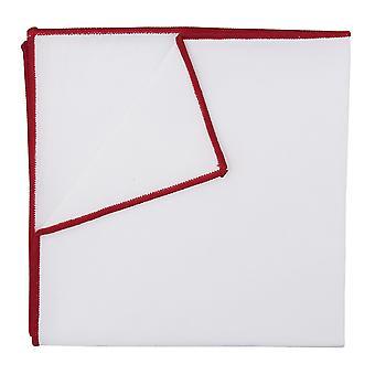 Plaza de bolsillo de algodón blanco con ribete rojo carmesí