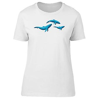 Blue Whale Family Illustration Tee Women's -Image by Shutterstock