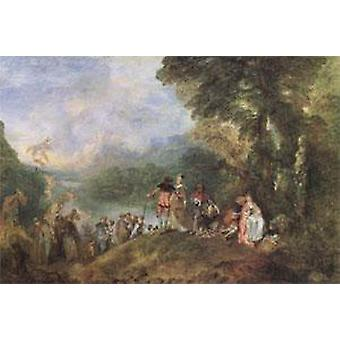 The Embarkation for Cythera, Jean-Antoine Watteau, 40x60cm with tray