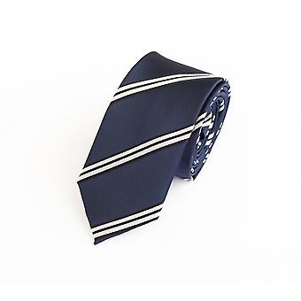 Nouer la cravate cravate 6cm noir bleu Fabio Farini blanc rayé