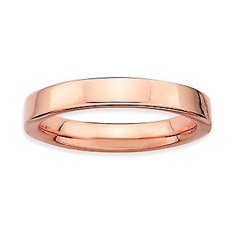 Sterling Silver Polished Stackable Expressions Pink-plated Ring - Ring Size: 5 to 10