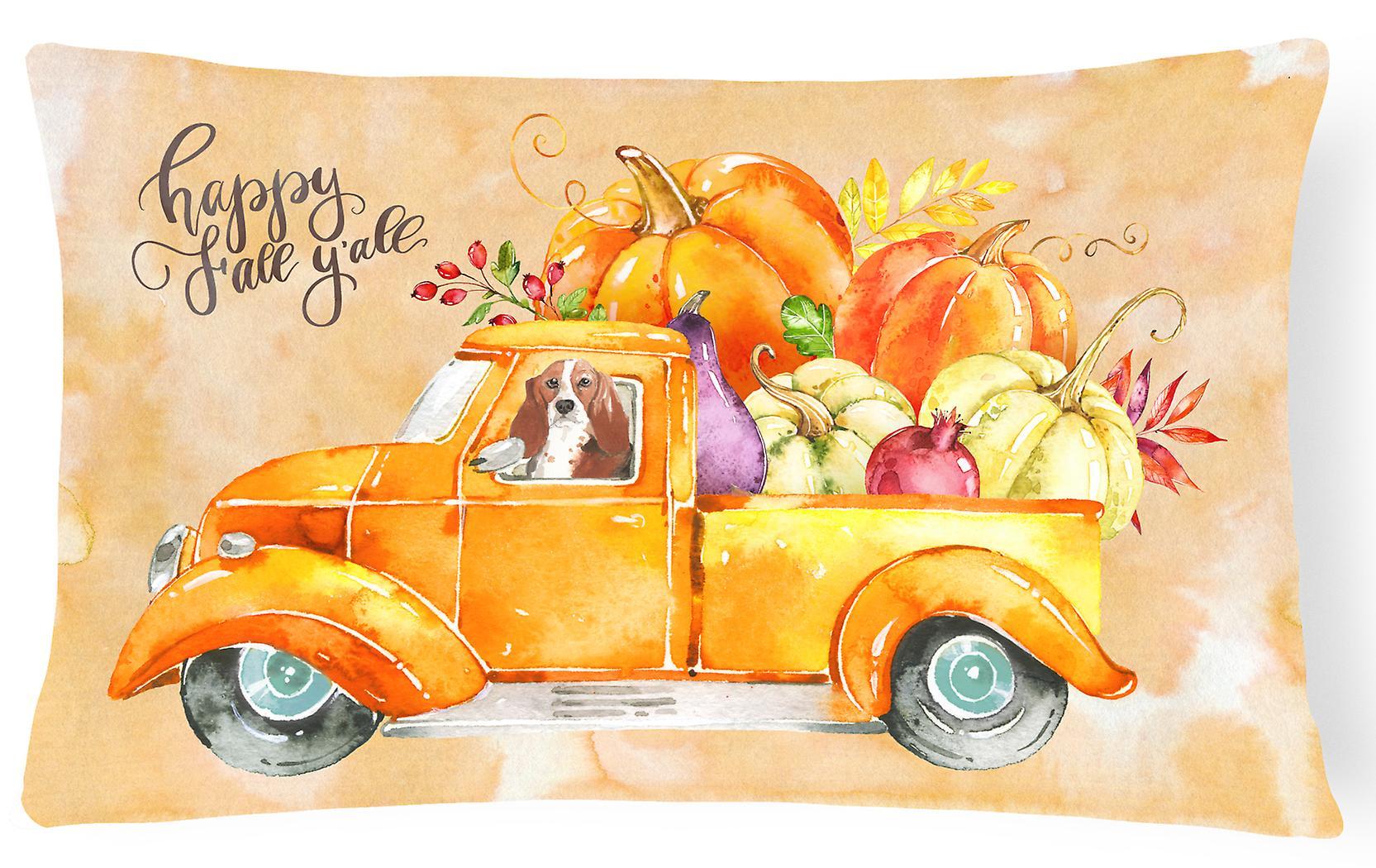 Harvest Canvas Basset Decorative Fall Fabric Hound Pillow gf67Yby