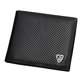 GENUINE Leather Wallet Mens Black Money Purse with ID Holder