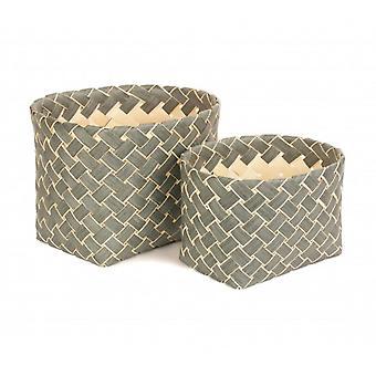 Set of 2 Grey Poplar Storage Basket