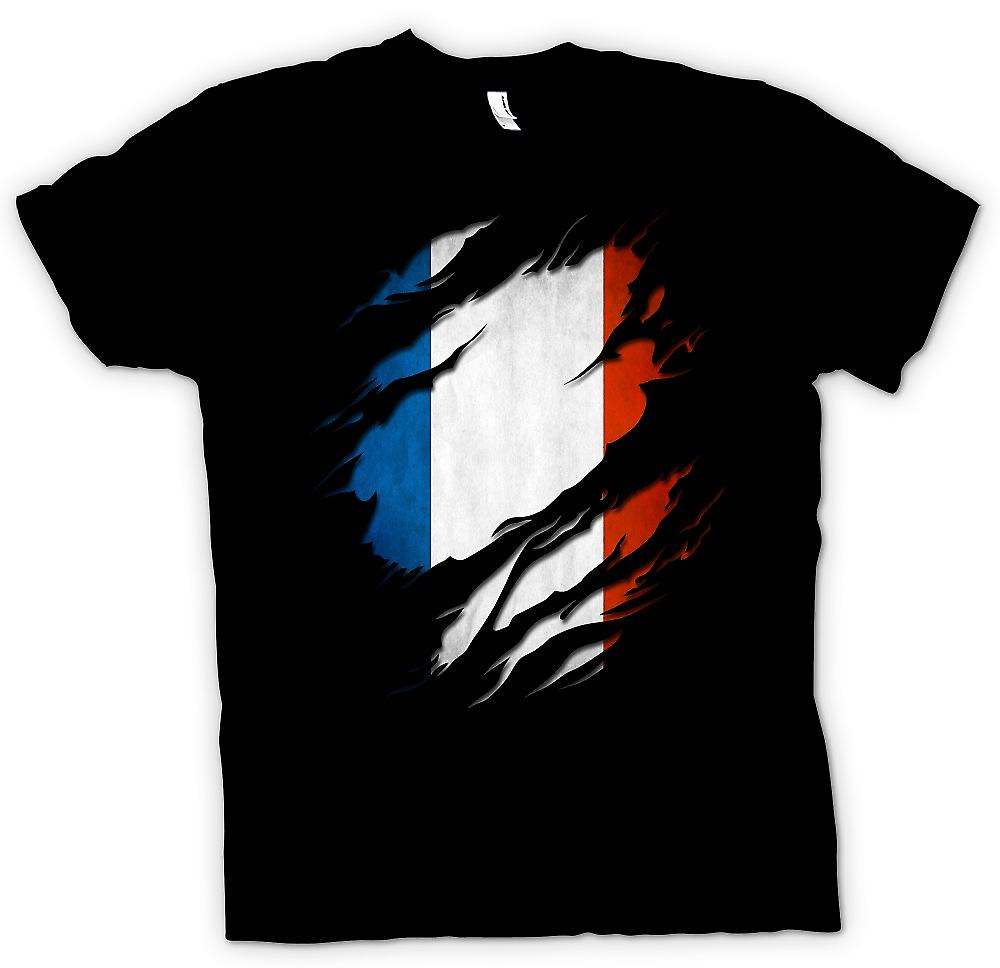 Kids T-shirt - France Tricolore Flag Grunge Ripped Effect