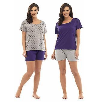 2 pack Damen Tom Franken Sterne Burnout T-Shirt Top & Shorts Pyjama Loungewear