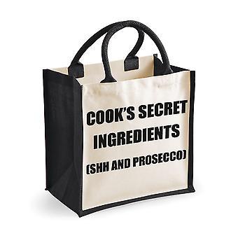 Medium Black Jute Bag Cook's Secret Ingredients (Shh and Prosecco)