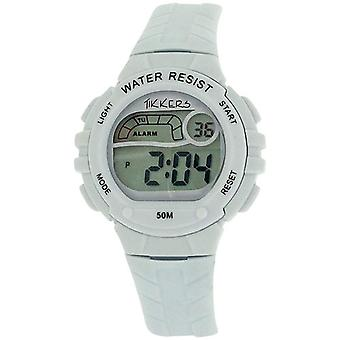 Reflex Tikkers Children's Digital Alarm Stop Watch White Rubber Strap RTK0001