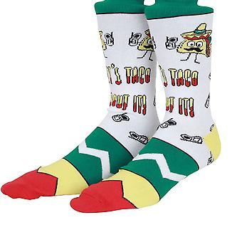 OddSox Mens Crew Knit Socks ~  Lets Taco 'Bout