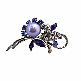 Lavender Pearls Amethyst Rose Crystals Oxidized Metal Cake Brooch