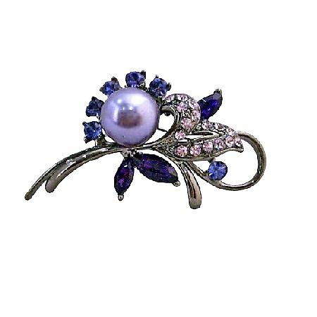 Lavender Pearls Amethyst Rose Crystals Oxidized Metal Cake Brooch