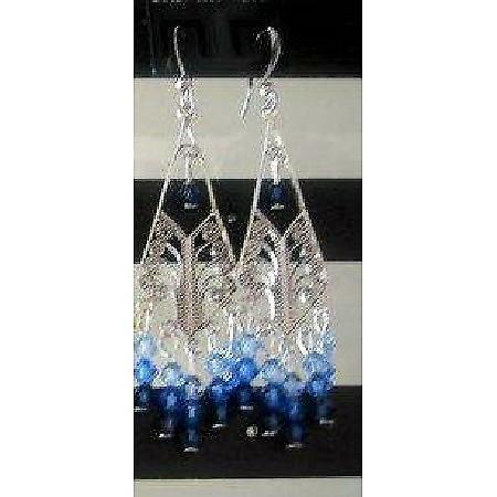 Sapphire Swarovski Crystal & Sterling 92.5 Silver Chandelier Earrings