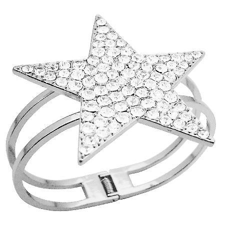 Star Cuff Bracelet Bling Bling Like Diamond Star Cuff Bracelet w/ CZ