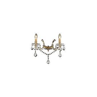 Ideal Lux - Florian oro acabado lámpara de pared con vidrio transparente y cristales IDL035659