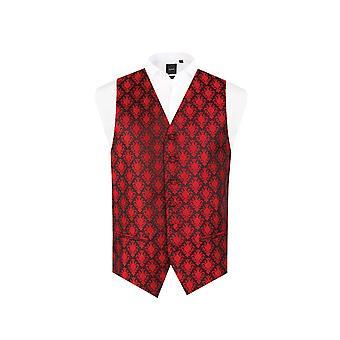 Dobell Mens Red Waistcoat Regular Fit 5 Button Jacquard Pattern Waistcoat