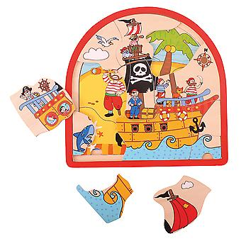 Bigjigs Toys Chunky Wooden Pirate Arched Puzzle Educational Child Jigsaw