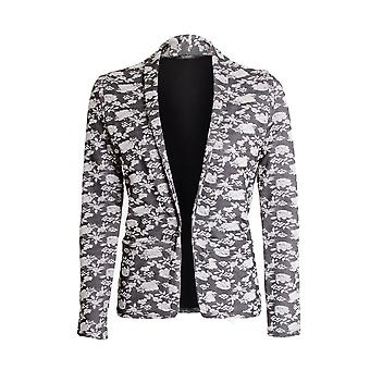 Ladies Floral Flower Print Blazer Evening Work Office Women's Jacket Coat