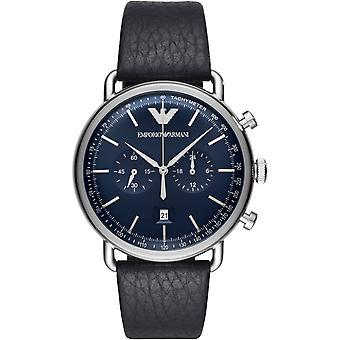 Emporio Armani Ar11105 quadrante blu cinturino in pelle nera orologio Menâs