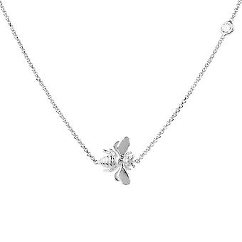 Queen Bee Honey Bumblebee Pendant Necklace 925 Sterling Silver Delicate CZ