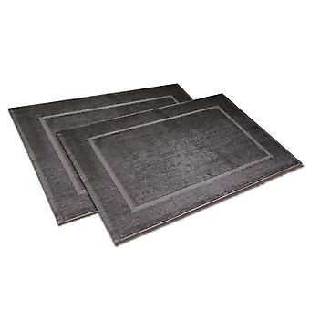 Badvorleger ensemble 50 x 70cm 2 pièces, anthracite, en coton 100%, en polybag.