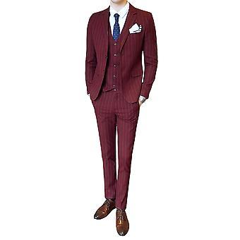 Allthemen ternos dos homens Slim Stripe Four Seasons 3-peças ternos blazer & Pants & coletes